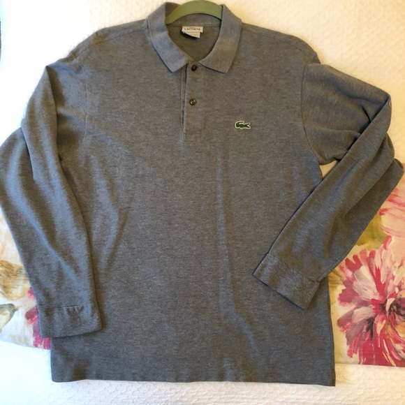 6472e1fa Men's Lacoste Long Sleeve Polo Top 4 M Grey / Gray